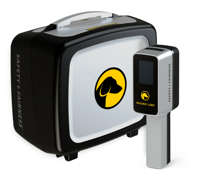 Hound Marijuana Breathalyzer base station and handheld