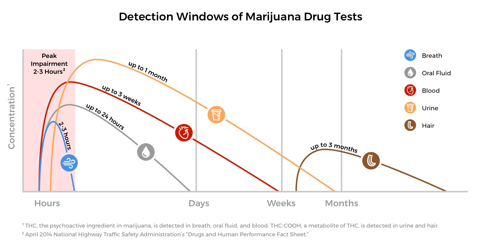 graph of detection windows for various marijuana drug tests