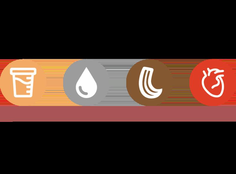 Urine Saliva Hair Blood Icons